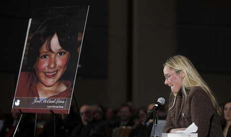 Scarlett Lewis, mother of Sandy Hook victim Jesse Lewis, speaks at a public hearing on gun control at Newtown High School in Newtown, Connecticut January 30, 2013.