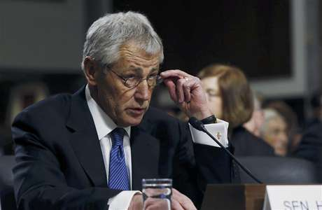 Former Sen. Chuck Hagel (R-NE) testifies before the Senate Armed Services Committee to be.
