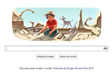 <p>Mary Lekey aparece no doodle do Google investigando o passado</p>