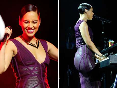 Alicia Keys was showing off her curves during her performance at will.i.am's annual TRANS4M concert benefitting I.Am.Angel foundation last night in Hollywood, California.