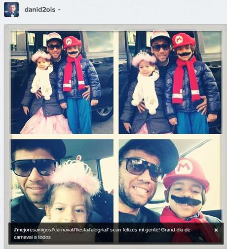 <p>Barcelona back Dani Alves kicked off the Carnival celebration with his kids, posting this picture of their costumes on Instagram.</p>