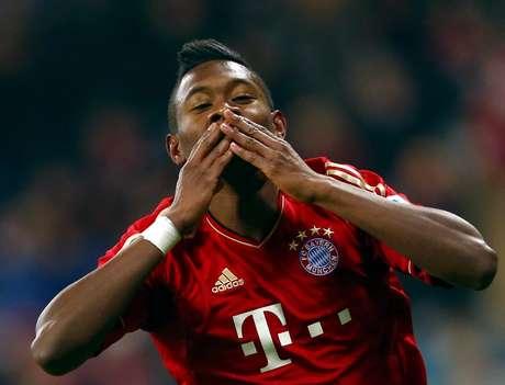 <p>Bayern Munich's David Alaba celebrates after scoring his first goal.</p>
