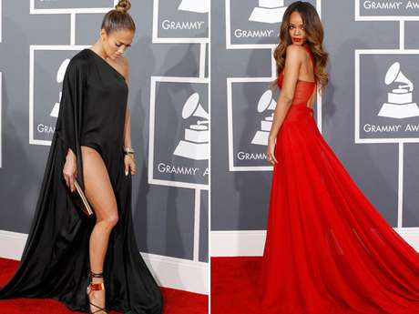 <p>Jennifer Lopez e Rihanna chamaram atenção com os vestidos escolhidos para a cerimônia do Grammy 2013, na noite deste domingo (10). J.Lo usou um vestido com uma enorme fenda na perna direita, ignorando a recomendação dos organizadores do prêmio para que os vestidos fossem mais recatados. Veja outros destaques do tapete vermelho na galeria</p>