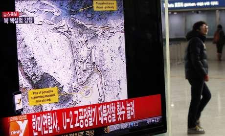 TV sul-coreana noticia suposto teste nuclear no país vizinho
