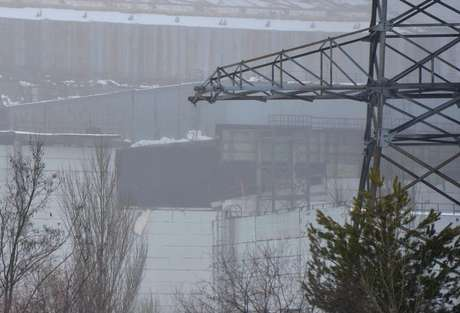 A view shows a partially damaged exterior construction of the engine room of unit number 4 of the Chernobyl Nuclear Power Plant February 13, 2013.