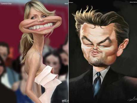 <p>Cameron Diaz e Di Caprio est&atilde;o entre os astros caricaturados&nbsp;da Oscartoon, a partir de sexta em SP</p>