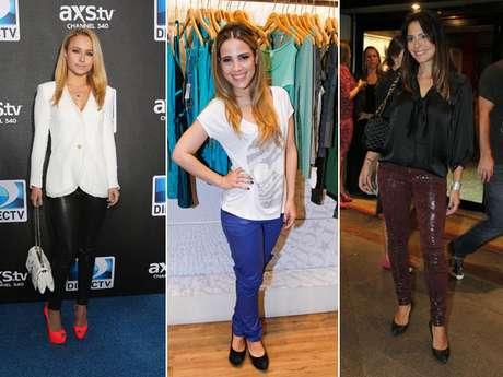 <p>Calças de couro podem compor looks clássicos e vestir mulher de todos os tipos de corpos</p>