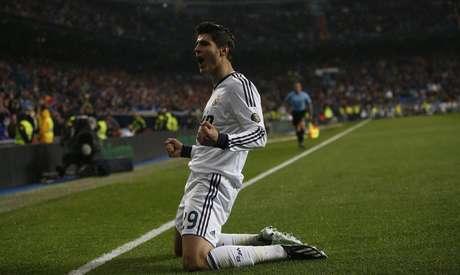 <p>Alvaro Morata celebrates his goal.</p>