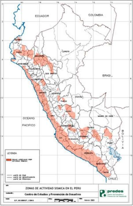 Mapa sísmico del Perú