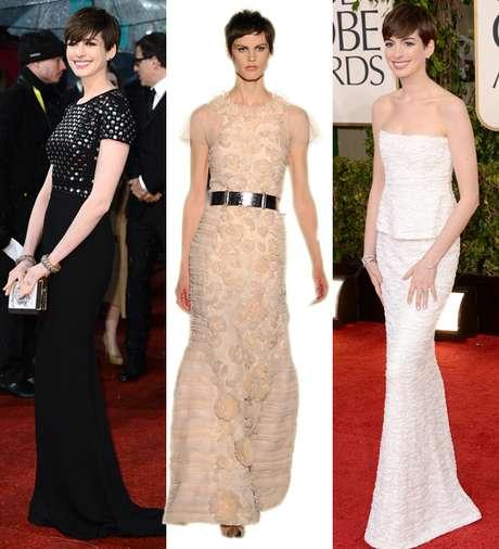<p><strong>Anne Hathaway</strong>,en los BAFTA (a la izquierda), acudió vestida de <strong>Burberry</strong>, quizá como homenaje a los premios británicos. Negro riguroso y tachuelas. En los Globos de Oro, fue vestida de <strong>Chanel Alta Costura </strong>(izquierda), con un modelo de 2009. Una colección que ya ha lucido en varias ocasiones. Por eso, en Terra apostamos por este vestido de Chanel de la temporada otoño-invierno. <strong>Tonos nude</strong>, con suaves transparencias: un look digno de Oscar.</p>