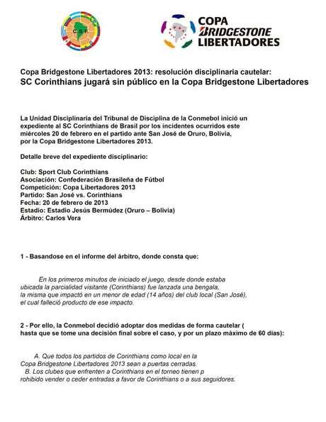 """<p>Conmebol divulgou documento com """"medida cautelar"""" após tragédia</p>"""