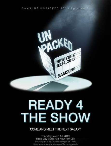 Samsung encaminhou convites para a imprensa para evento em 14 de março em Nova York