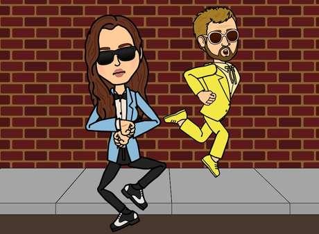 <p>Dos personas bailando Gangnam style, con un sorprendente parecido a Brad y Angelina.</p>