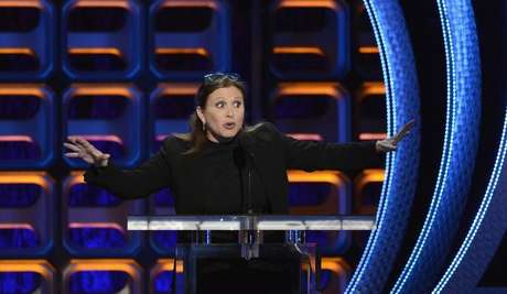 Carrie Fisher speaks during the taping of the Comedy Central Roast of Roseanne in Los Angeles August 4, 2012.
