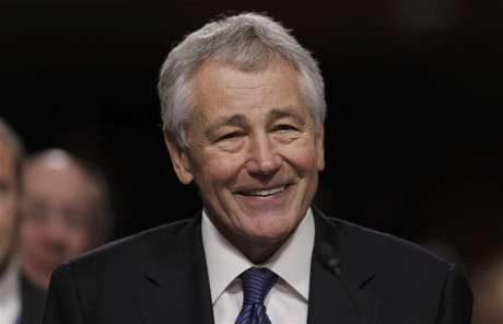 Former U.S. Senator Chuck Hagel (R-NE) testifies during a Senate Armed Services Committee hearing on his nomination to be Defense Secretary, on Capitol Hill in Washington, January 31, 2013.