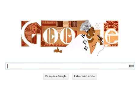 Google lembrou Miriam Makeba publicando um logo com motivos africanos neste dia 04 de março