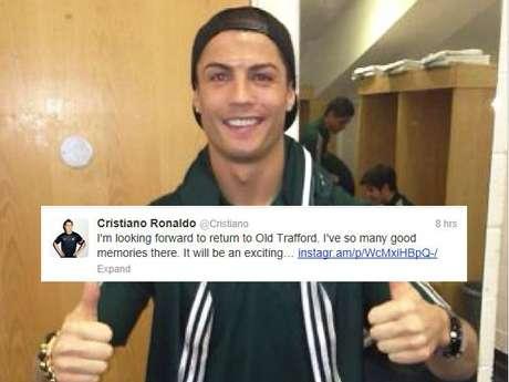 <p>Cristiano Ronaldo está, sin duda, emocionado por volver a su antiguo estadio, como lo trinó felizmente.</p>