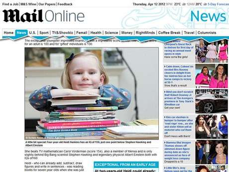 Aos 4 anos, a britânica Heidi Hankins já tinha QI comparado ao de Albert Einstein