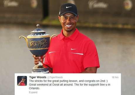 <p>Tiger Woods agradeció a su amigo y compañero Steve Stricker por darle consejos que le ayudaron a ganar su 76to evento de la PGA en Doral.</p>