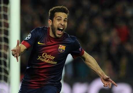 <p>Jordi Alba celebra un gol, el cuarto del Barça, ante el Milan</p>