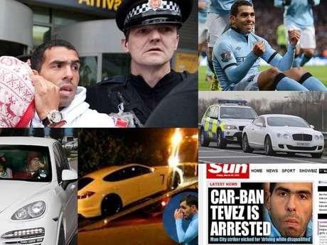 <p>Desde que llegó a la ciudad de Manchester en Inglaterra, Carlos Tévez se ha visto inmiscuido en diversos problemas con la policía de tránsito, ya sea por manejar a exceso de velocidad, sin permiso de circulación o por no atender a citatorios en inglés. Acá te presentamos las consecuencias de sus actos.</p>