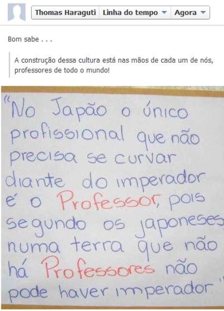 Dias antes de matar professora, o principal suspeito do crime compartilhou em sua página no Facebook uma mensagem que fala sobre a importância dos educadores