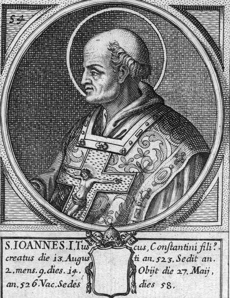 Papa João I, Sumo Pontífice de 523 a 526, em imagem de aproximadamente 520
