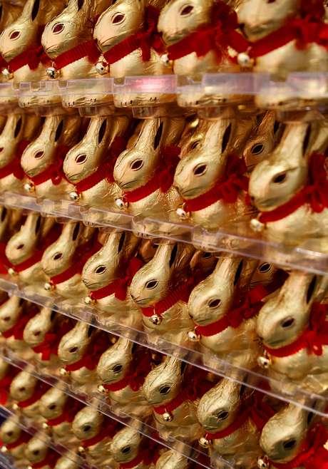 Conejos de Pascua de chocolate en el Museo del Chocolate de Colonia, Alemania.