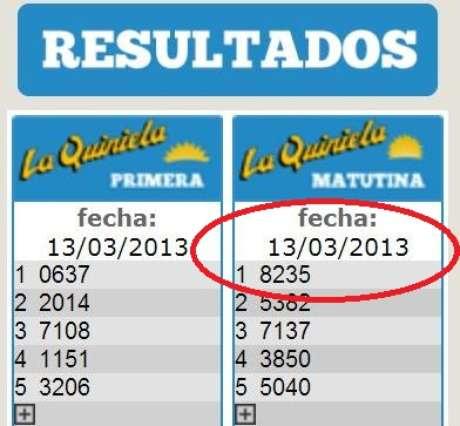El número ganador de la Quiniela matutina del 13 de marzo en la página web de la Quiniela Nacional