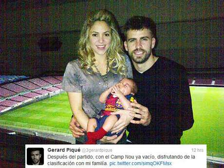 <p>Gerard Pique, Shakira and son Milan celebrate at the Camp Nou after Barcelona's impressive 4-0 over AC Milan in the Champions League. Pique put the photo up on his Twitter account after the game Tuesday. Several of his teammates also took to social media to celebrate. Continue on to see the rest of their tweets and posts.</p>