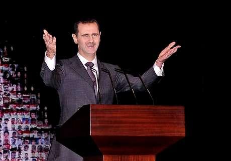 Bashar al-Assad, em discurso na ópera de Damasco, em janeiro de 2013