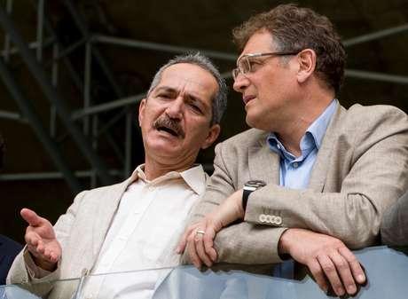 Reblo y Valcke, durante la visita del secretario general de la FIFA a los estadios de Brasil este mes.