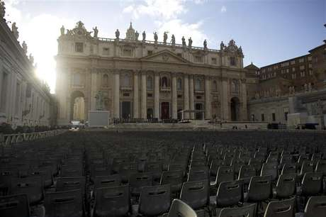 Chairs are in place in Saint Peter's Square at the Vatican, one day before Pope Francis' inaugural mass March 18, 2013.