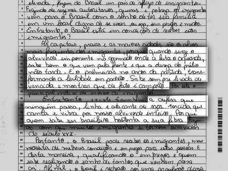 No texto sobre a imigração no Brasil, estudante aproveitou para citar o hino do seu time do coração