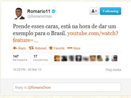 Romário atacou José Maria Marin novamente no Twitter