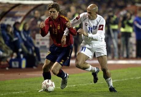 <p>Debut de Ramos con la Seleccion en 2005 ante Serbia</p>