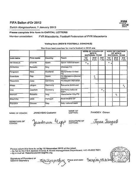 <p>Documento en el que figuran los votos del capitán y del seleccionador de Macedonia.</p>