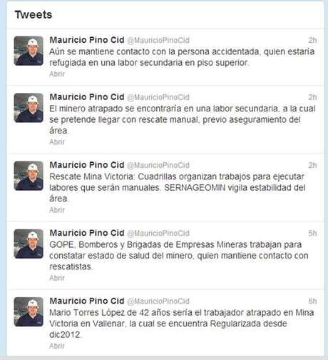El seremi de Minería de Atacama, Mauricio Pino Cid, ha informado a través de su cuenta en Twitter sobre el desarrollo de las labores de rescate.