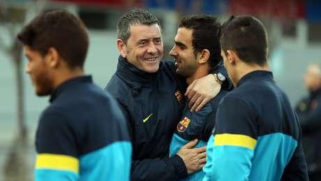 Montoya con Carlos Busquets, entrendor de porteros del Barça B