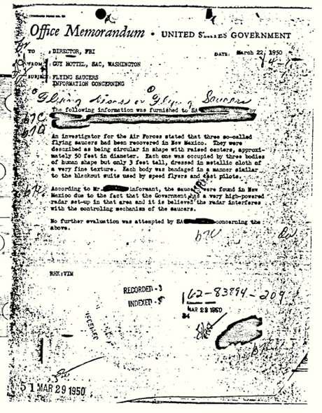 Documento de 1950 divulgado pelo FBI apresenta relato sobre encontro com objetos voadores não identificados