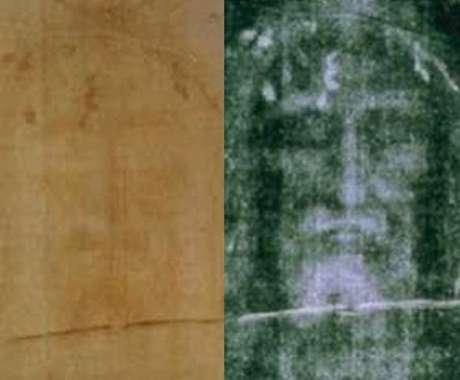 <p>Comparativo entre o manto original (esq.) e um negativo (dir.): tecido marcado por sangue de alguém que foi crucificado podeter mesmo coberto o corpo de Jesus, segundo novos testes infravermelhos</p>