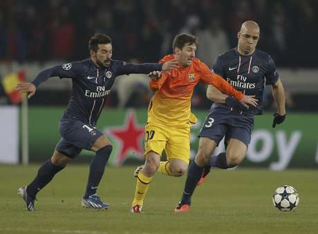<p>Messi, durante el partido ante el PSG en el que se lesionó</p>