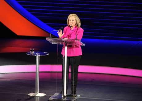 Hillary Clinton durante a conferência em Nova York nesta sexta-feira