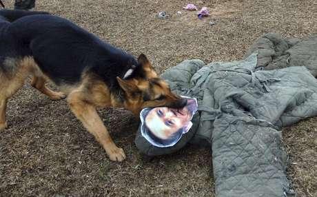 <p>Cachorro militar norte-coreanos atacaboneco com a foto do Ministro de Defesa da Coreia do Sul Kim Kwan-Jin</p>