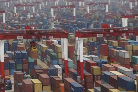 A general view of a shipping container area at the Yangshan Port of Shanghai May 11, 2012.