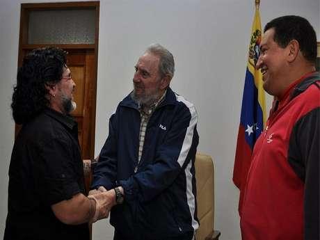 Huga Chávez, Fidel Castro y Diego Maradona