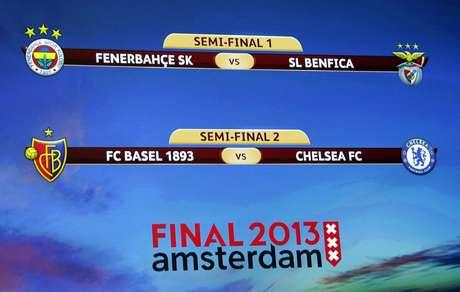 <p>La pantalla gigante muestra los duelos que dejará a dos clasificados para la final de Ámsterdam.</p>