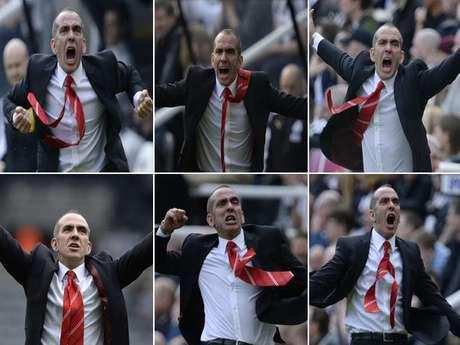 <p>Paolo Di Canio, nuevo entrenador del Sunderland,celebra salvajemente la victoria sobre Newcastle.</p>