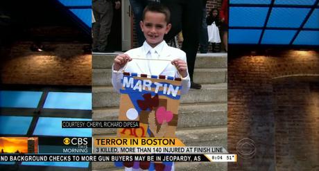 Reprodução da rede CBS mostra uma foto de Martin Richard