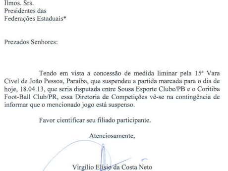 <p>Reprodu&ccedil;&atilde;o mostra comunicado oficial da CBF que confirma a suspens&atilde;o do jogo</p>